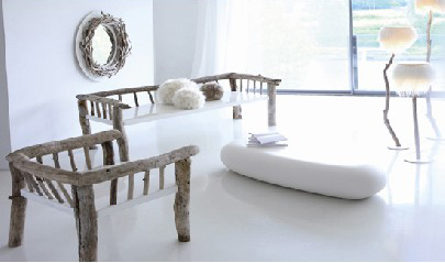 Living room furniture and mirror made from drift wood by Bleu Nature
