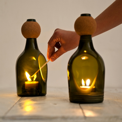 candle holders made from upcycled wine bottles by Lucirmas