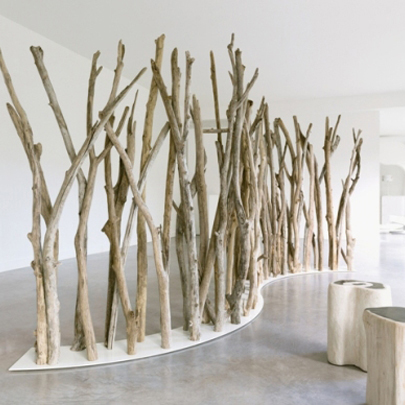 Room divider made from driftwood by Bleu Nature