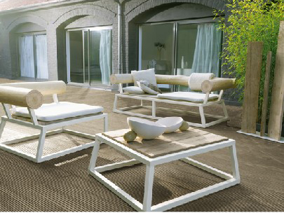 Outdoor furniture suite made from driftwood by Bleu Nature