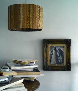 Pendant lampshade made from upcycled vintage rulers by Rory Dobner