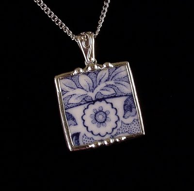 Pendant necklace made from upcycled broken china fragment