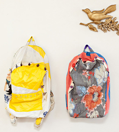 backpacks made from upcycled textile