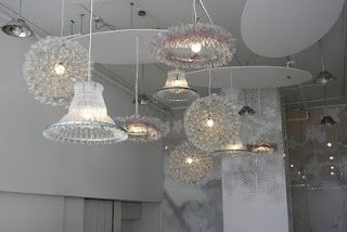 Pendant lights made from coat hangers