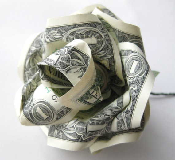 paper rose made from dollar bills upcyclist
