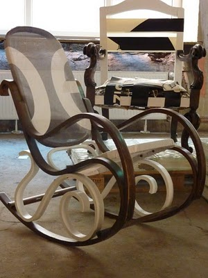 Upcycled rocking chair and upcycled armchair by designers Klinik der Dinge